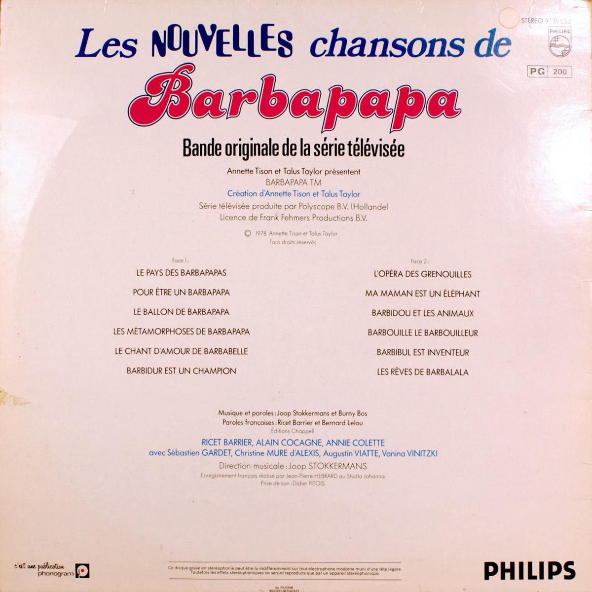 Disque vinyle 33 tours - Les nouvelles chansons de Barbapapa - Face B