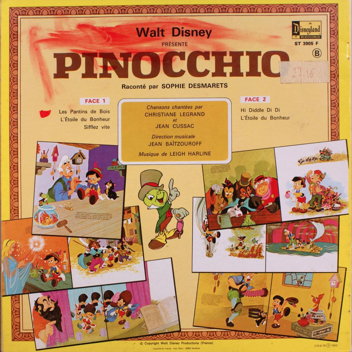 Livre-Disque 33 tours - Pinocchio - Face B - Walt Disney